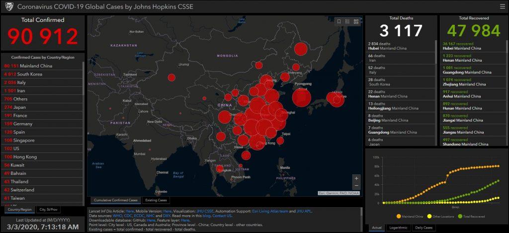 Топ-3 карт распространения коронавируса в реальном времени